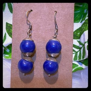 Tribal Silver earrings with Lapis